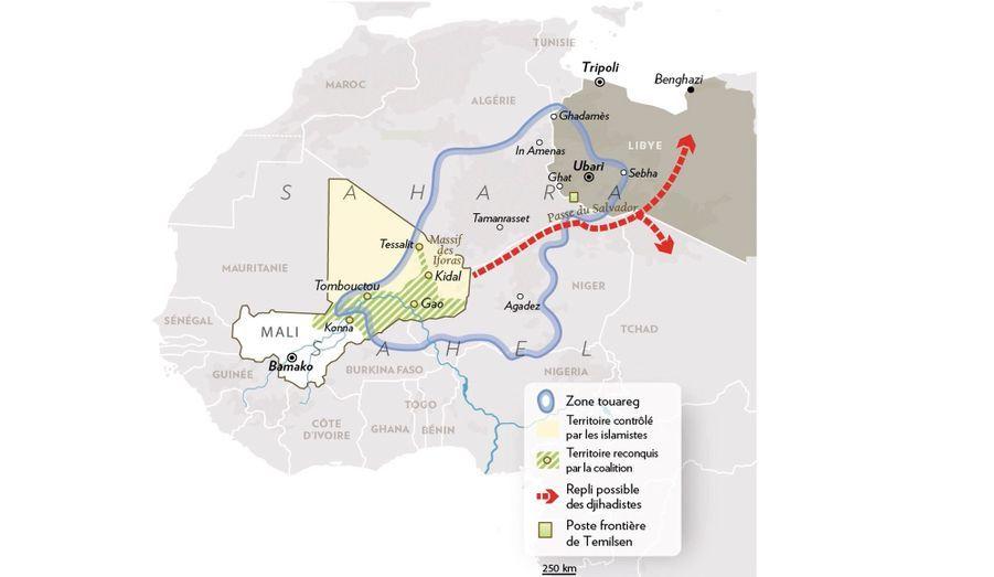 Sous la poussée française au Mali, les djihadistes doivent passer les frontières des territoires touareg pour se réfugier en Libye et au Tchad.