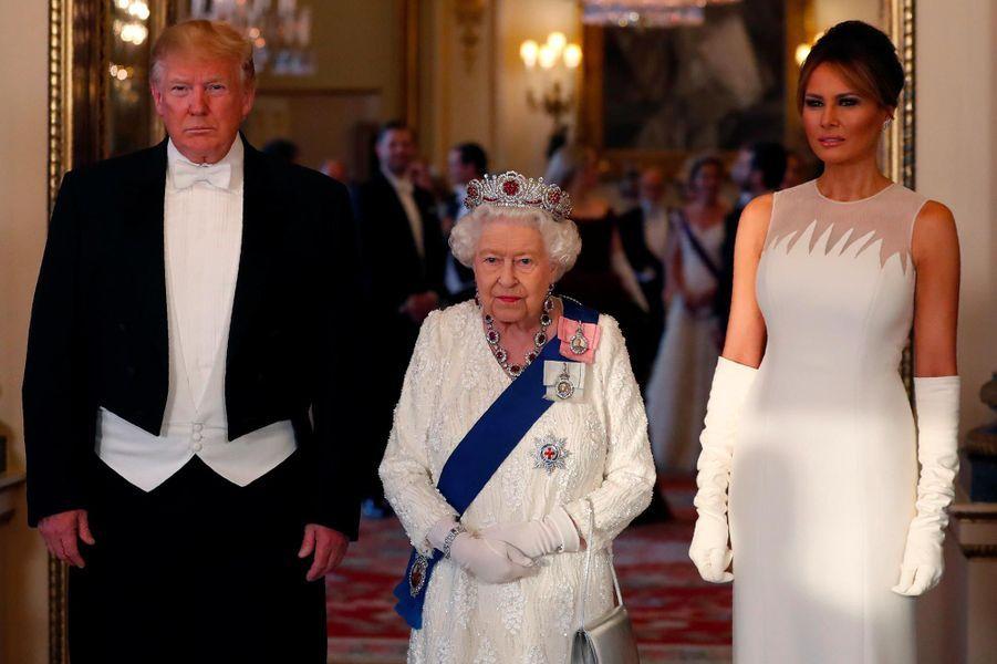 Melania Trump lors du banquet organisé à Buckingham Palace, le 3 juin 2019.