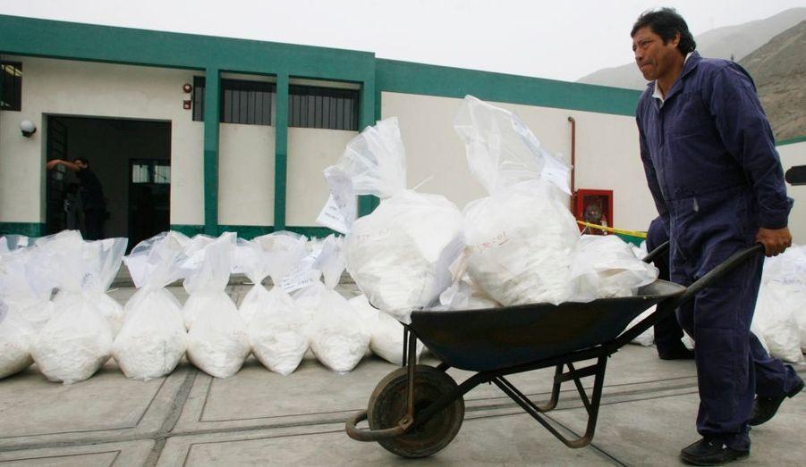 Des brouettes de cocaïne, à Lima, au Pérou