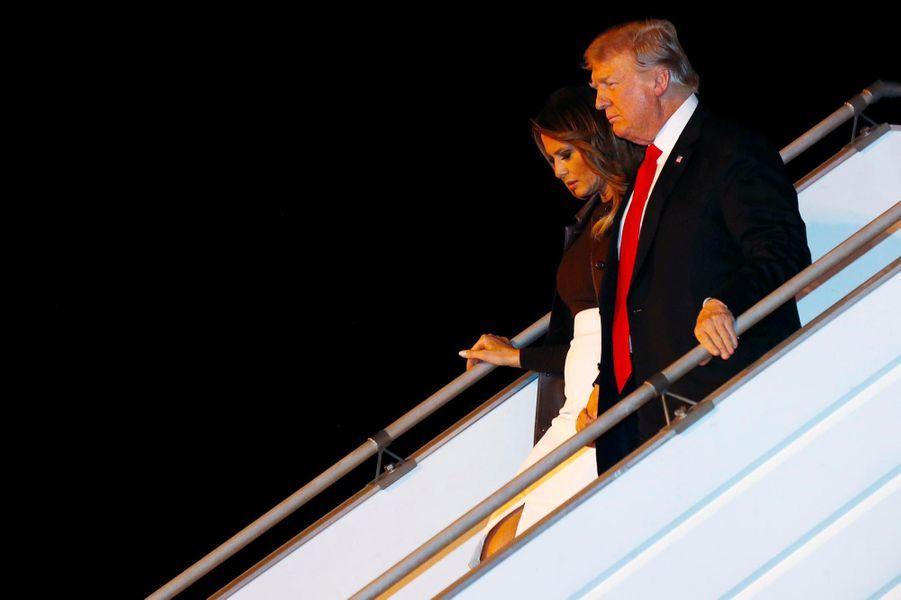 Melania et Donald Trump à leur arrivée en Argentine, le 29 novembre 2018.