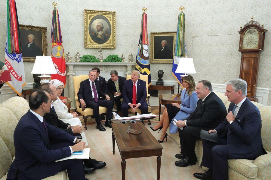 Le président truc et sa femme, accueillis à la Maison Blanche le 13 novembre 2019.