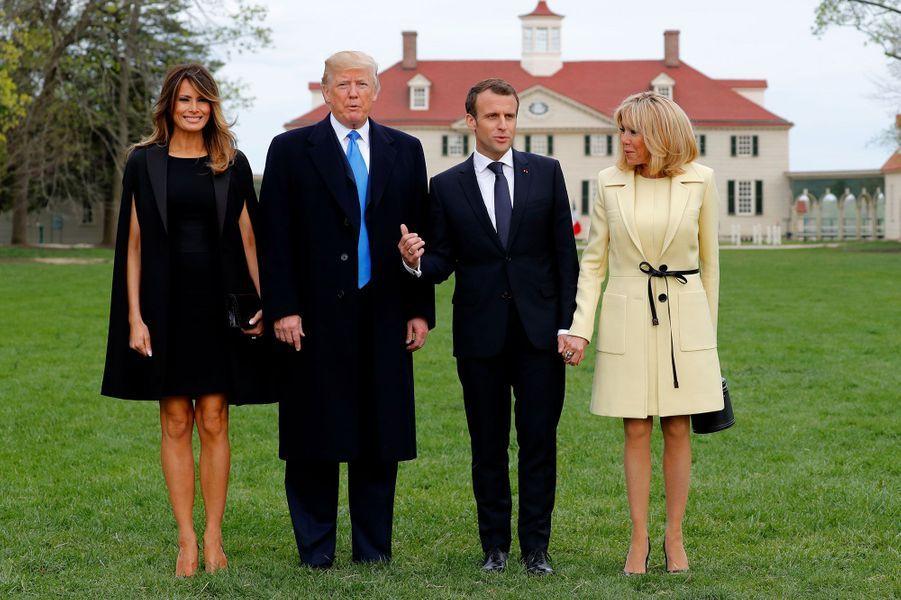 Melania Tump, Donald Trump, Emmanuel Macron et Brigitte Macron à Mount Vernon.