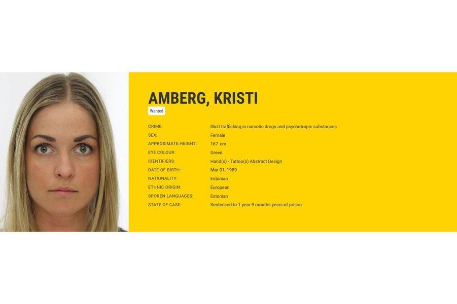 Kristi AMBERG recherchée par l'Estonie pour trafic de stupéfiants.
