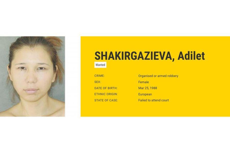 Adilet SHAKIRGAZIEVA, recherchée par Malte pour vol en bande organisée ou à main armée.