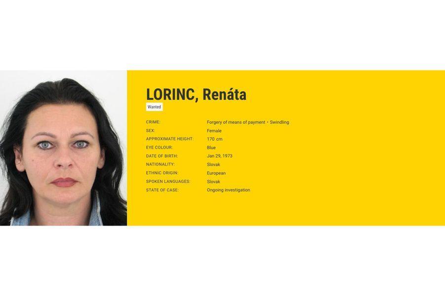 Renáta LORINC, recherchée par la Slovaquie pourfalsification desmoyens de paiement.