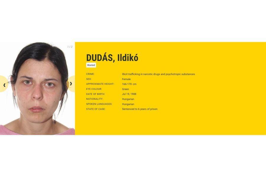 Ildiko Dudas, recherchée par la Hongrie pour trafic de drogue et d'abus à l'encontre d'enfants.
