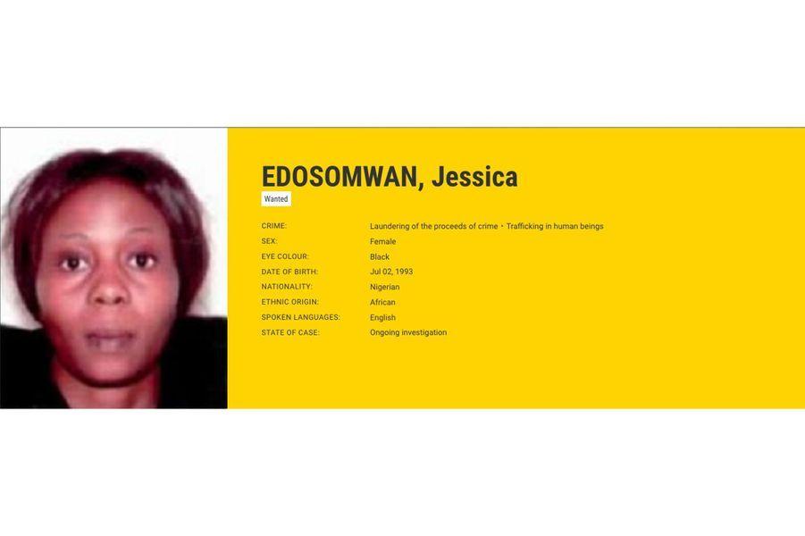 Jessica EDOSOMWAN, recherchée par la France pour trafic d'êtres humains.