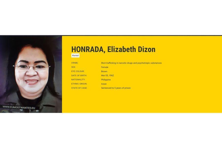 Elizabeth Dizon HONRADA, recherchée par les Pays-Bas pour trafic de stupéfiants.