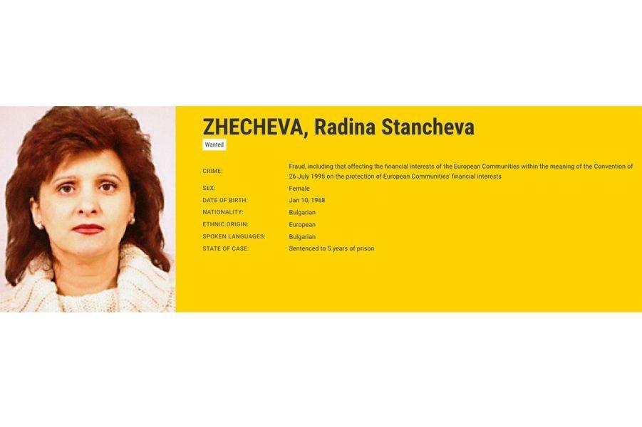 """Radina StanchevaZHECHEVA , recherchée par la Bulgarie pour """"fraude""""."""
