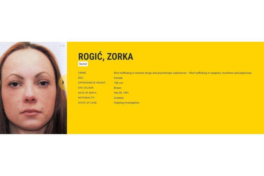 Zorka ROGIĆ, recherchée par la Croatie pour trafic de stupéfiants et d'armes.
