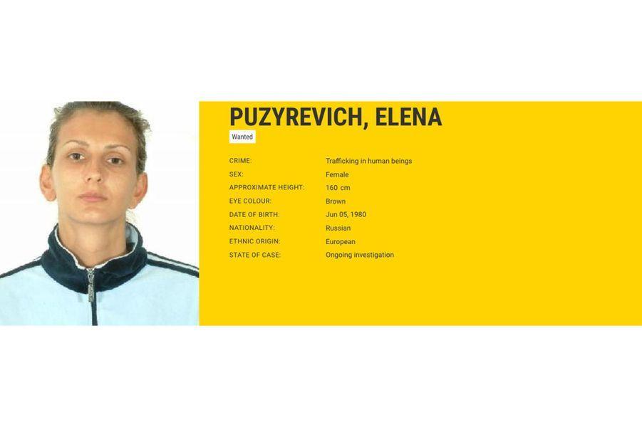 Elena PUZYREVICH, recherchée par l'Espagne pour trafic d'êtres humains.