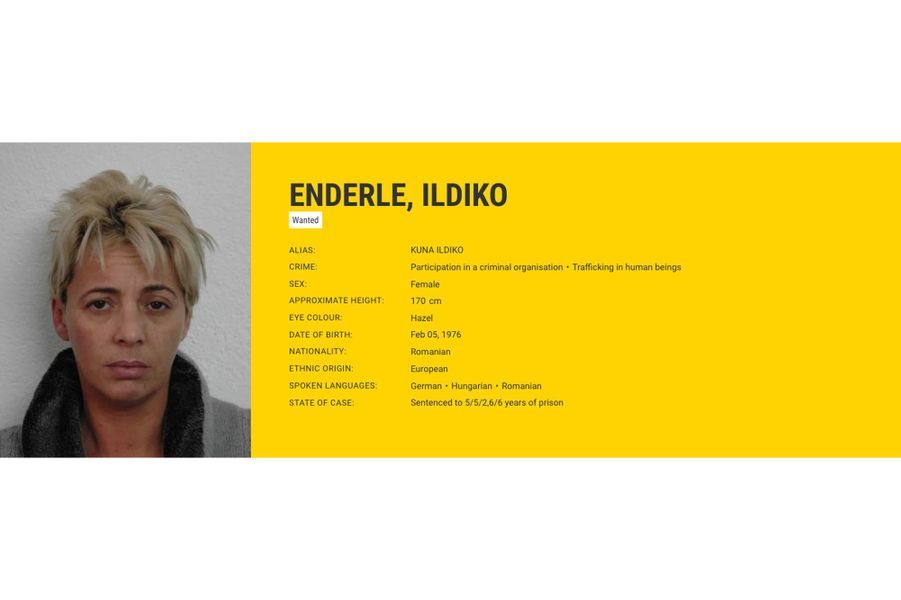 Ildiko ENDERLE, recherchée par la Roumanie pour trafic d'êtres humains.