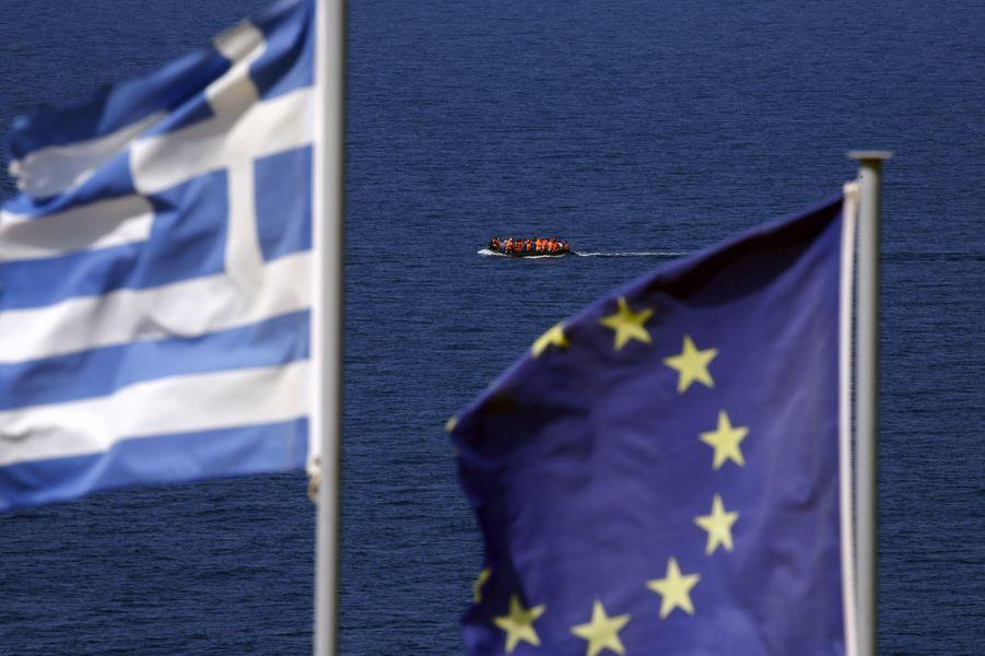 Photo prise à Lesbos le 20 septembre 2015