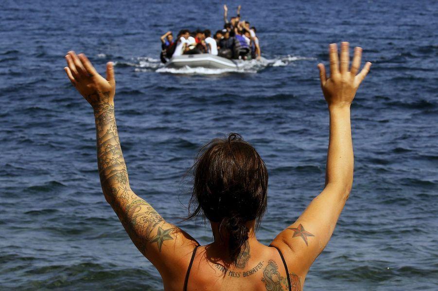 Photo prise sur l'île de Lesbos le 21 septembre 2015