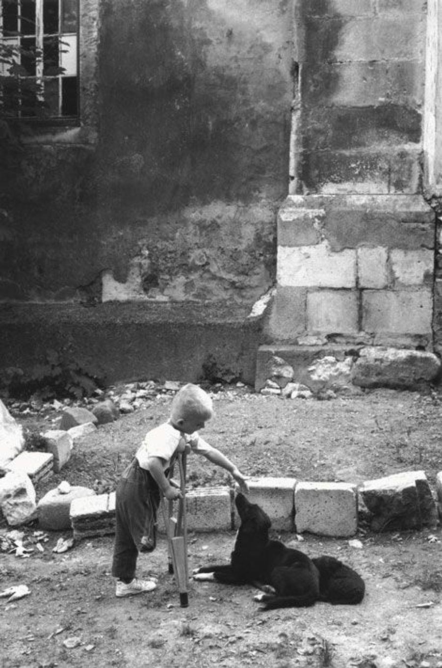 Bosnie, juin1995. Un gamin mutilé joue avec son chien dans la poche musulmane de Bihac assiégée par les troupes serbes, bientôt libérée par les Croates.