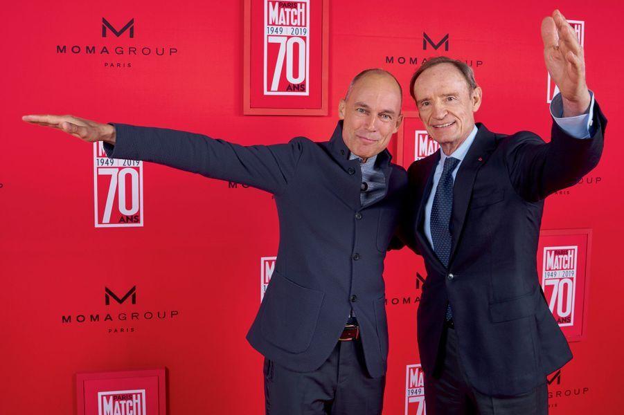 L'aviateur Bertrand Piccard et l'ancien champion de ski Jean-Claude Killy.