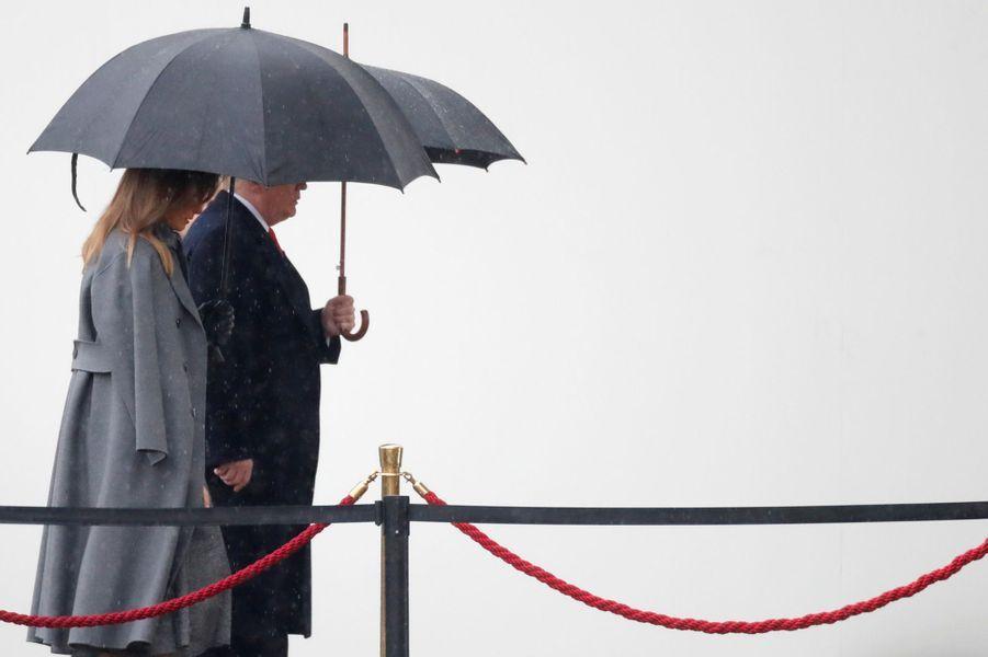 Arrivée de Donald et Melania Trump à l'Arc de triomphe