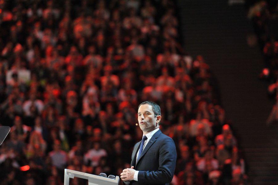 Benoît Hamonlors de son meeting à Bercy, le 19 mars 2017.