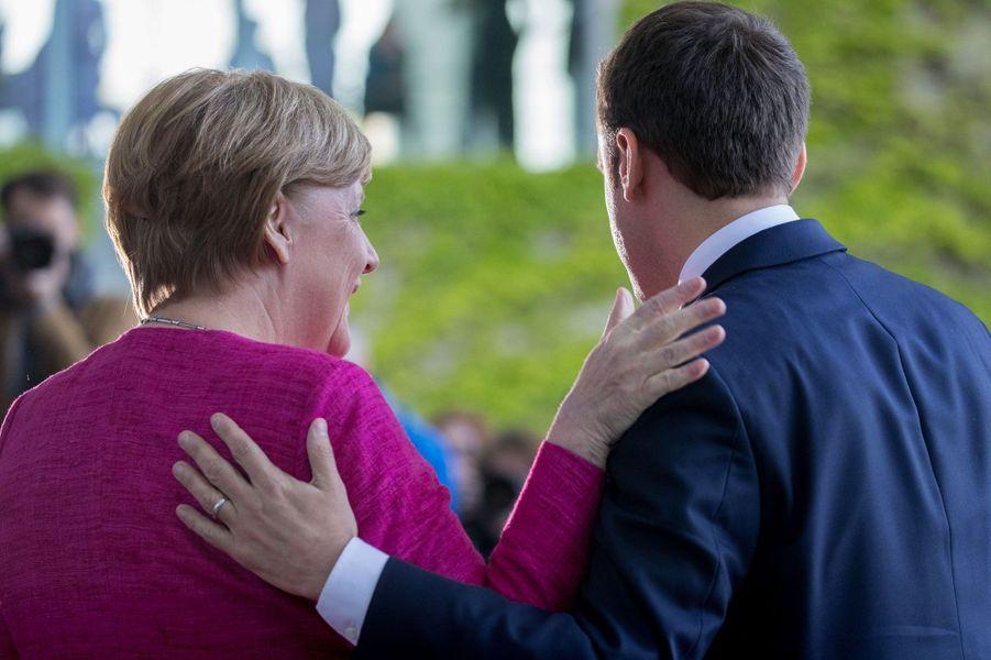 Angela Merkel et Emmanuel Macron à Berlin, lundi