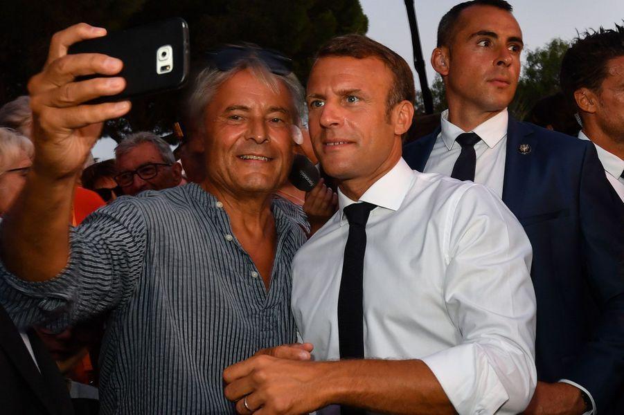 Le président Emmanuel Macron samedi àBormes-les-Mimosas
