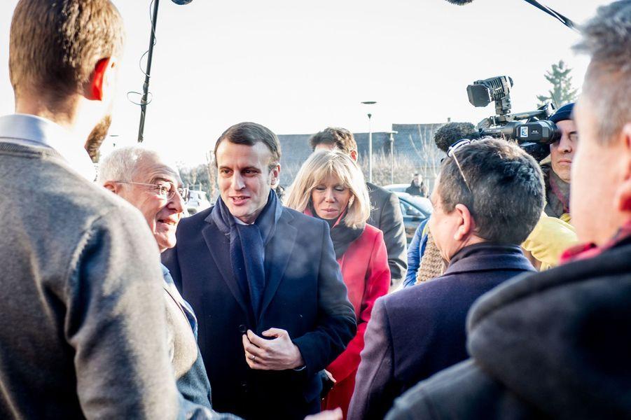 Emmanuel Macron etBrigitte Trogneux à Clermont-Ferrand, le 7 janvier 2017.