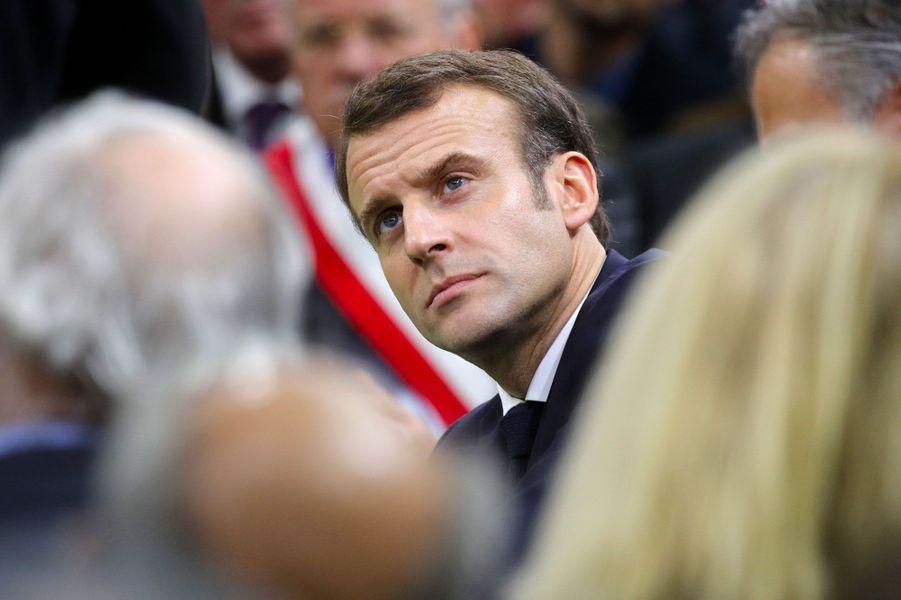 Emmanuel Macron à Grand Bourgtheroulde, mardi.