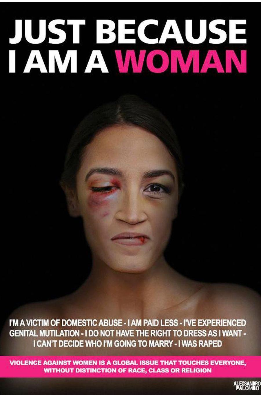 La campagne«Just because I am a Woman» de l'artisteAleXsandro Palombo. IciAlexandria Ocasio-Cortez.