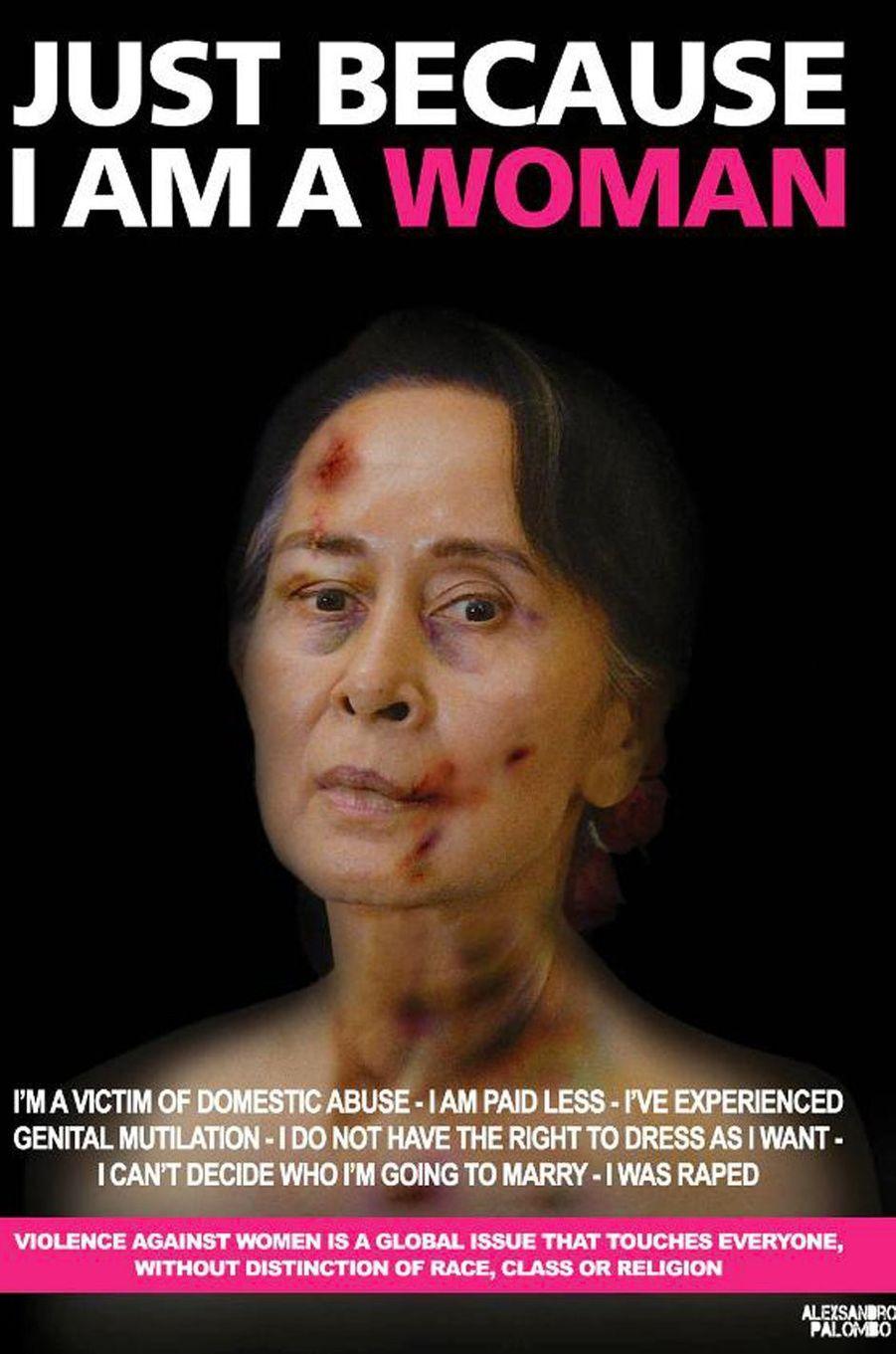 La campagne«Just because I am a Woman» de l'artisteAleXsandro Palombo. IciAung San Suu Kyi.