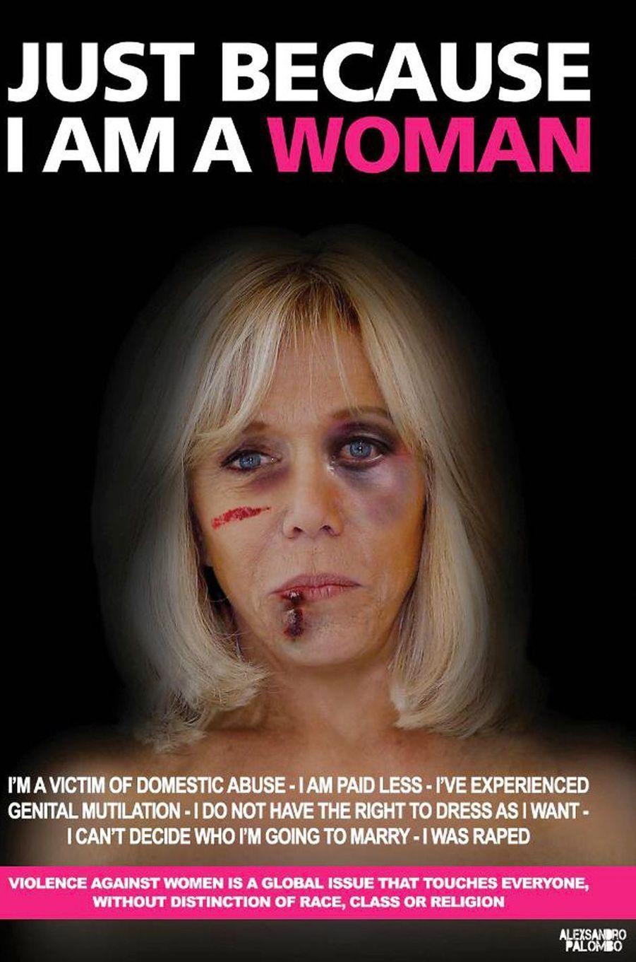 La campagne«Just because I am a Woman» de l'artisteAleXsandro Palombo. IciBrigitte Macron.