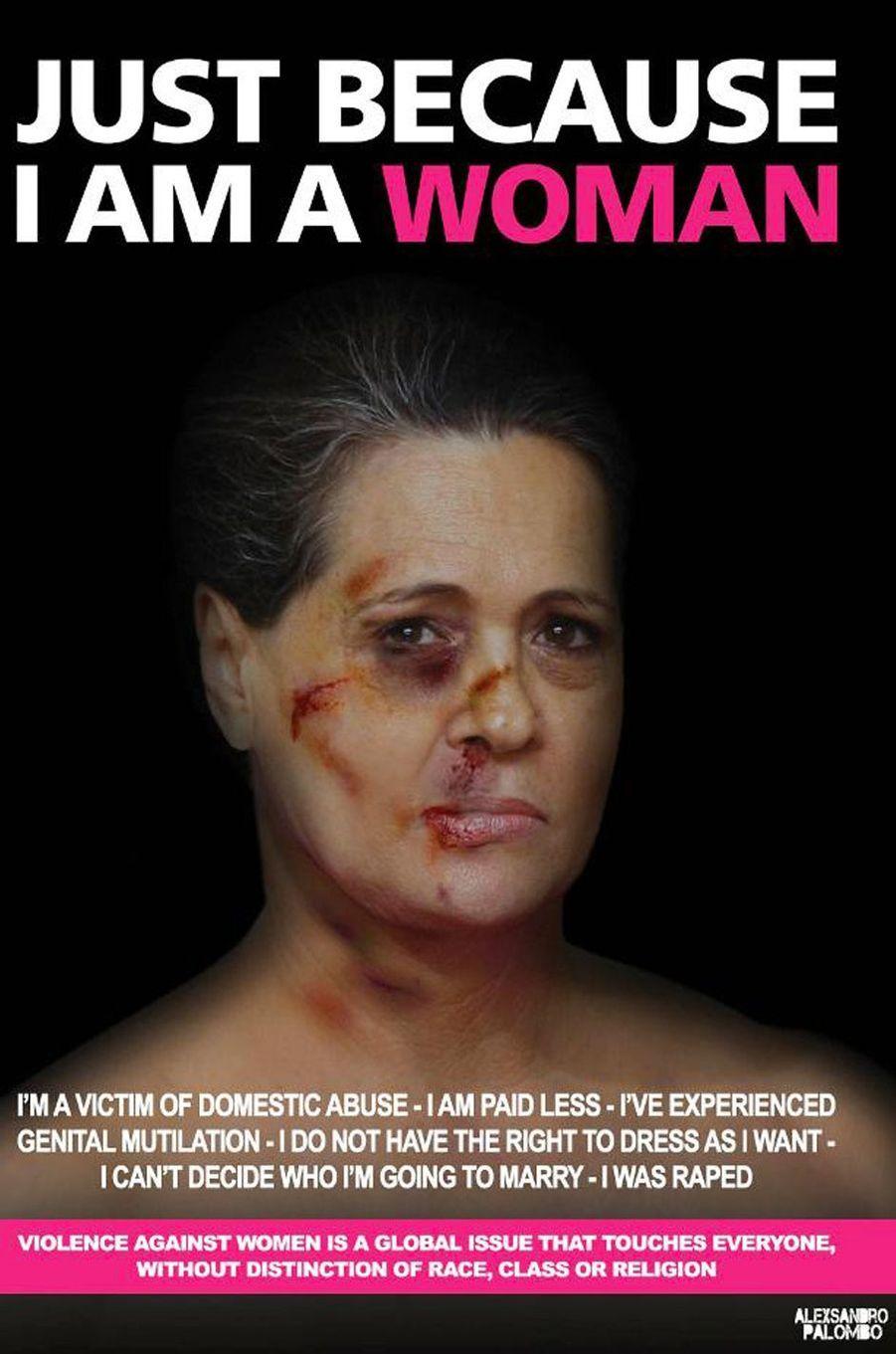 La campagne«Just because I am a Woman» de l'artisteAleXsandro Palombo. IciSonia Gandhi.