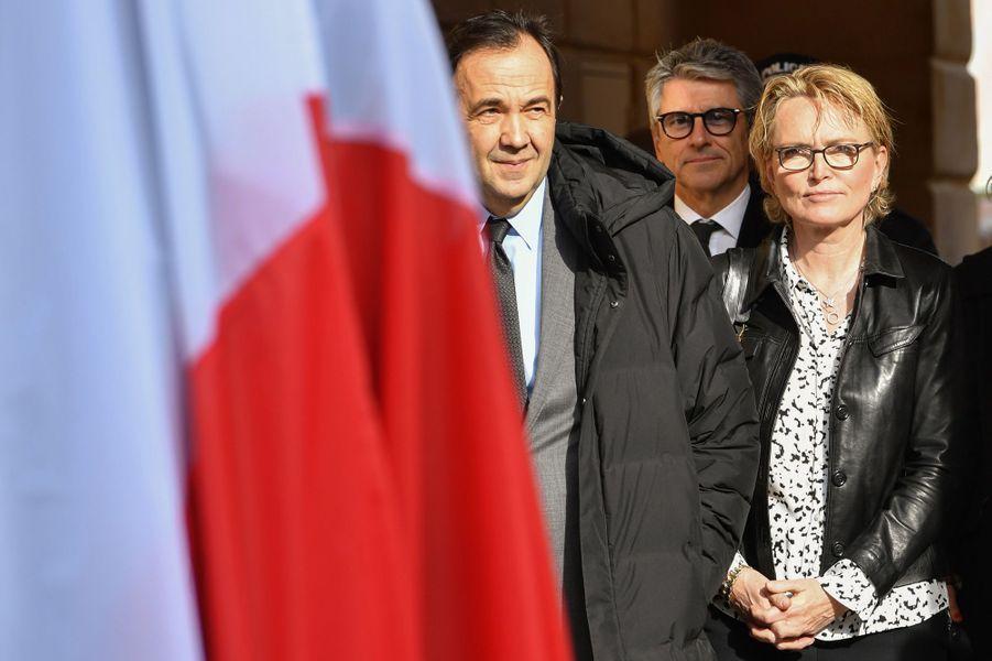 """Frédéric Salat-Baroux et Claude Chirac à Nice lors de l'inauguration du """"Cours Jacques Chirac""""."""