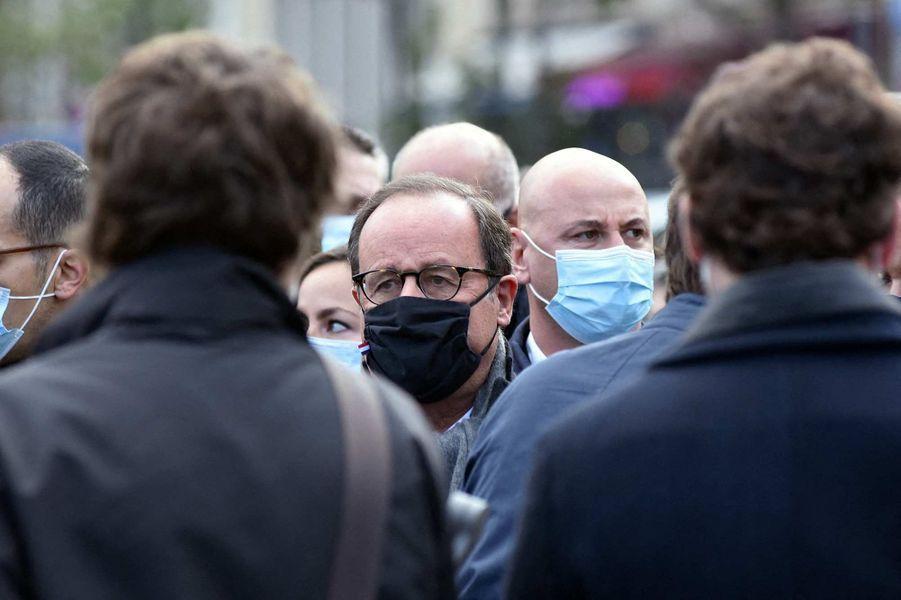 François Hollandeà l'hommage à Samuel Paty à Paris, le 18 octobre 2020.