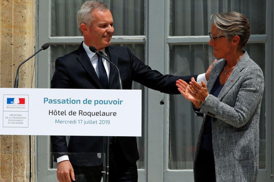 Passation de pouvoir entre François de Rugy et Elisabeth Borne.