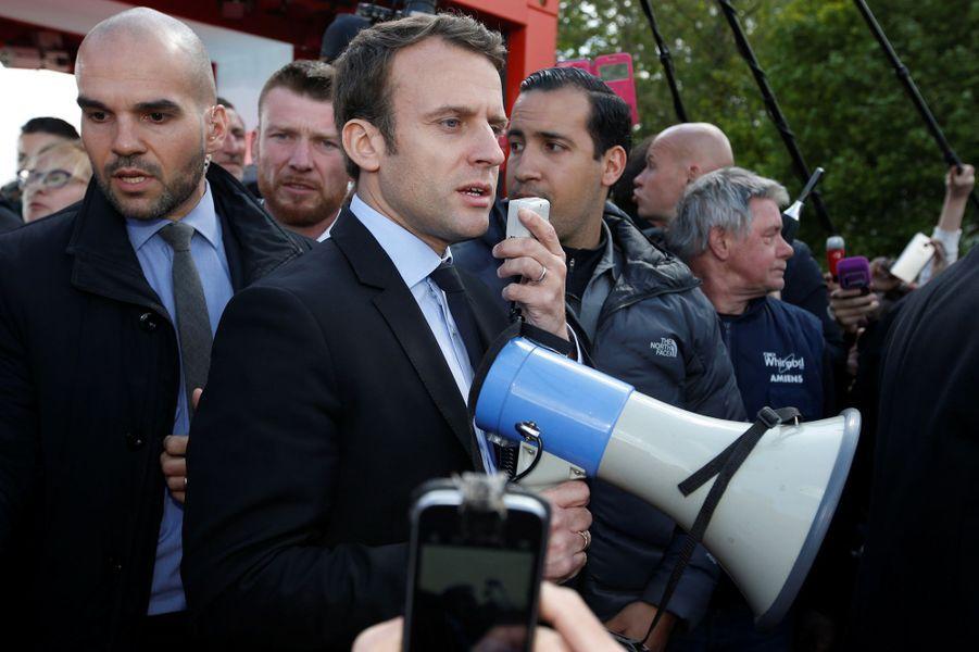 Alexandre Benalla auprès d'Emmanuel Macron le26 avril 2017