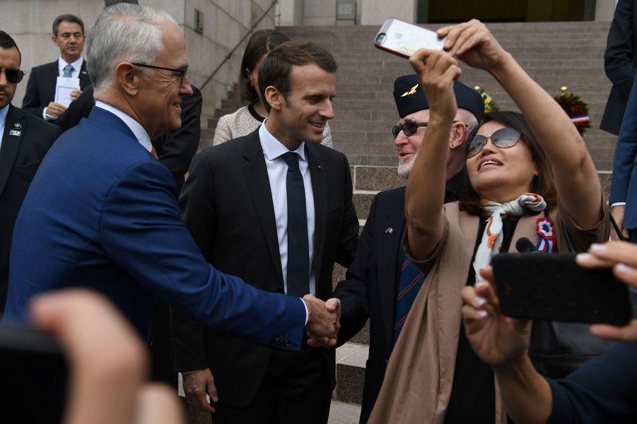 Emmanuel Macron lors de la cérémonie à l'occasion du centenaire de l'Anzac.