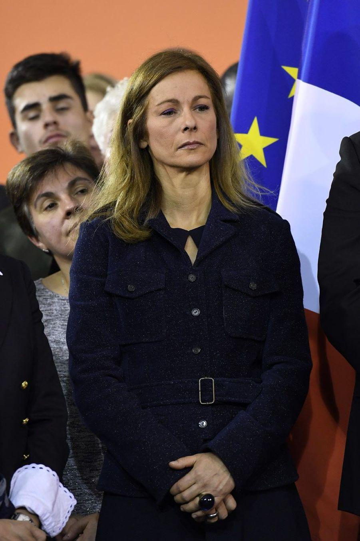 Anne Gravoin lundi soir à Evry, pendant le discours de Manuel Valls