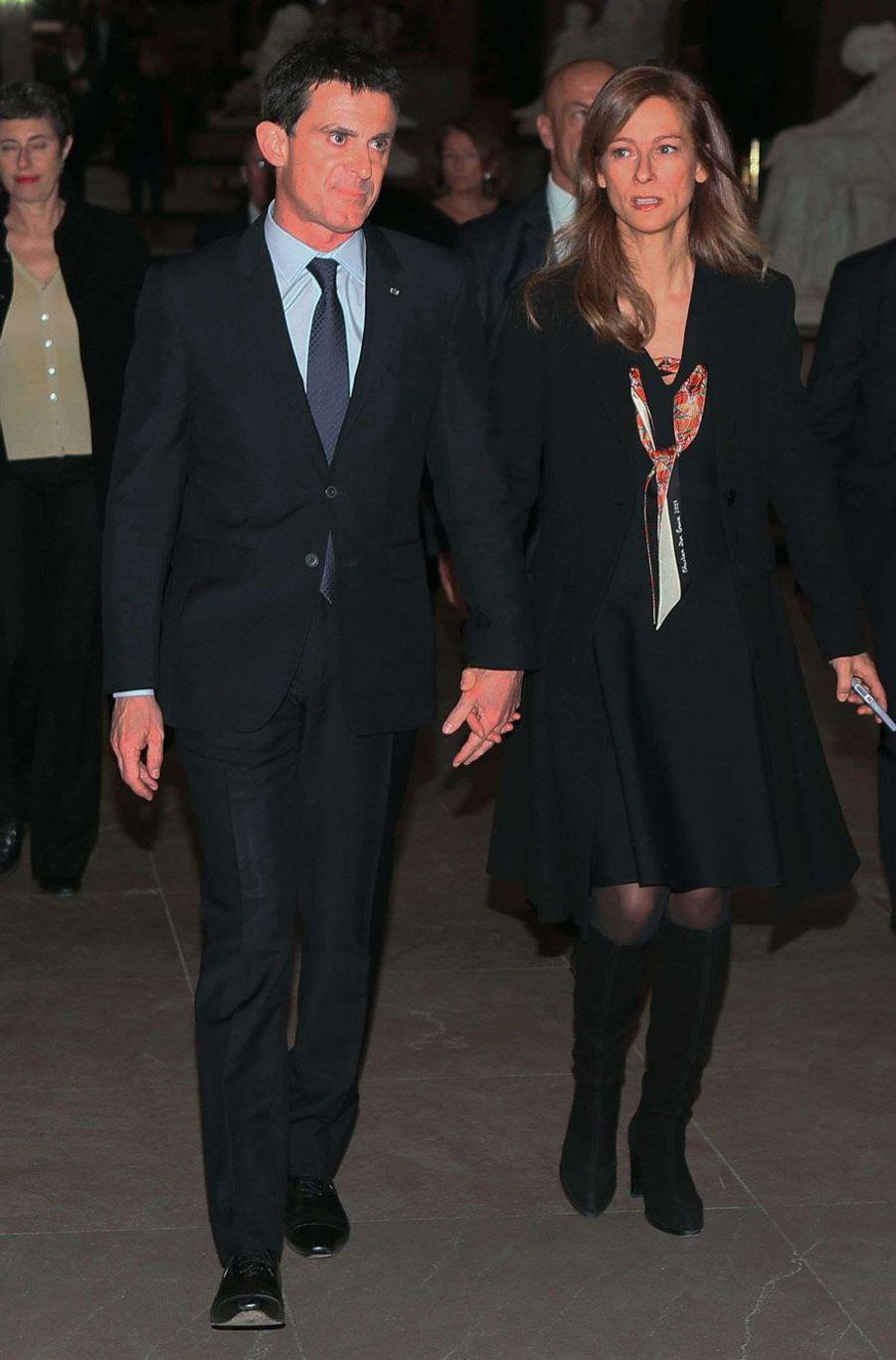 Manuel Valls et Anne Gravoin, lundi soir à Evry