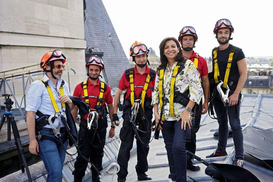 Equilibriste. Dans la perspective des municipales de 2020, elle doit éviter tout faux pas, sous peine de chuter encore dans l'opinion. Ici, sur le toit de l'Hôtel de Ville, le 31 mai.
