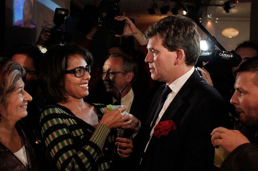 Audrey Pulvar et Arnaud Montebourg, en octobre 2011 lors de la première primaire socialiste.