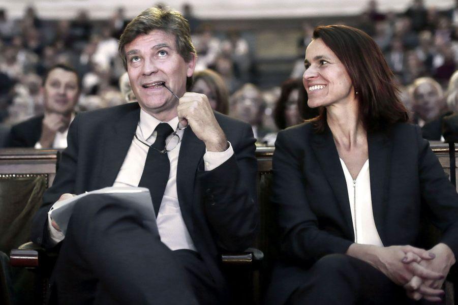 Arnaud Montebourg et Aurélie Filippetti aux assises de l'épargne et de la fiscalité, à la Sorbonne à Paris, en octobre 2016.