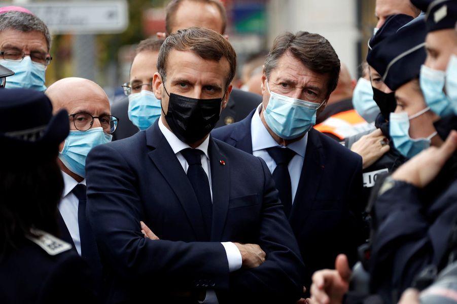 Le président de la République Emmanuel Macron à Nice.