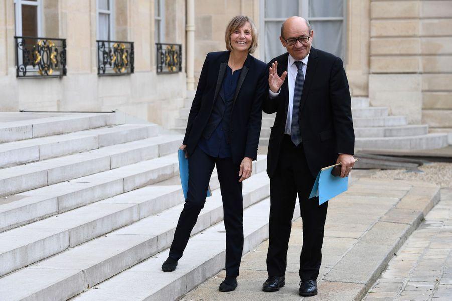 Marielle de Sarnez (secrétaire d'Etat chargéedes Affaires européennes) etJean-Yves Le Drian (ministre de l'Europe et Affaires étrangères).