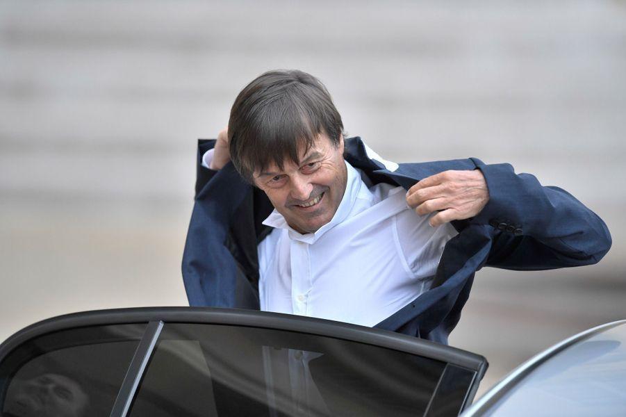 Nicolas Hulot, ministre de la Transition écologique et solidaire, arrive à l'Elysée.