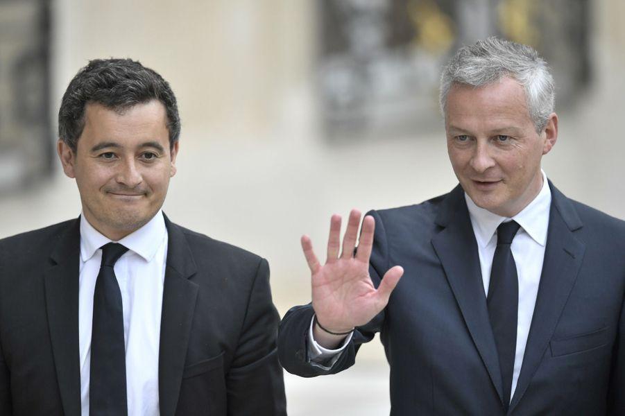 Gerald Darmanin ( Action et comptes publics) et Bruno Le Maire (Economie) arrivent à l'Elysée.
