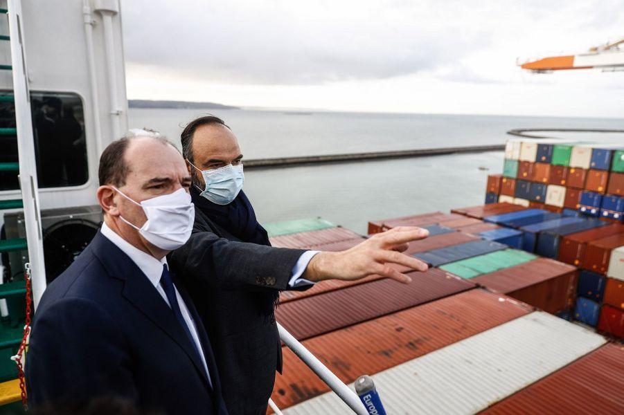 Edouard Philippe et Jean Castex, au Havre vendredi.