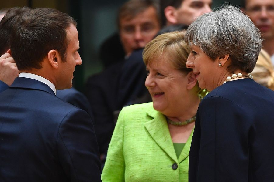 Emmanuel Macron, Theresa May et Angela Merkel.