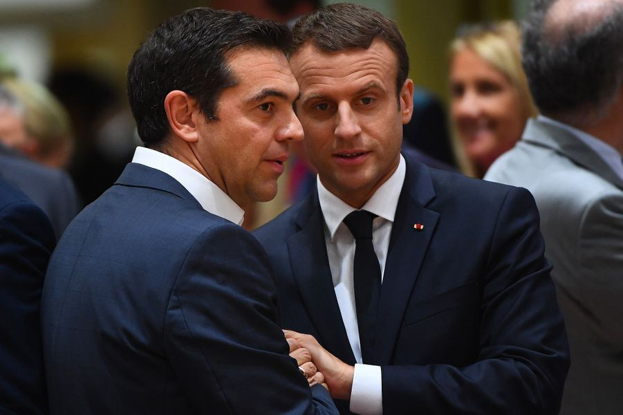 Emmanuel Macron et Alexis Tsipras.