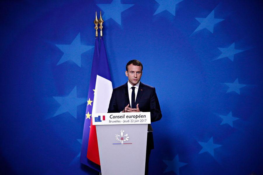 Emmanuel Macron devant la presse, au sommet européen à Bruxelles.