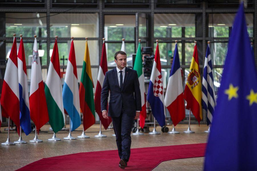 Emmanuel Macron, au sommet européen à Bruxelles.