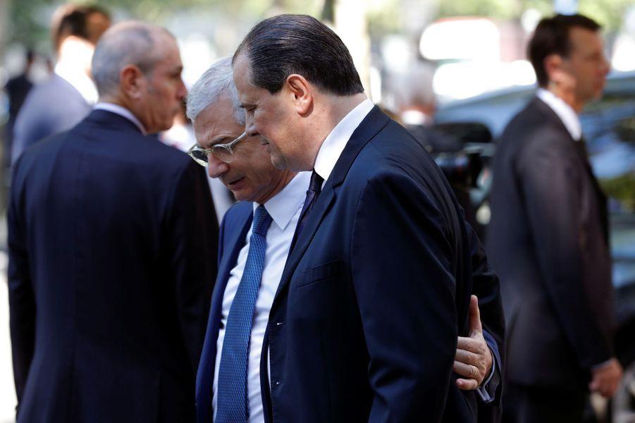 Claude Bartolone et Jean-Christophe Cambadélis à l'hommage à Michel Rocard, à Paris.